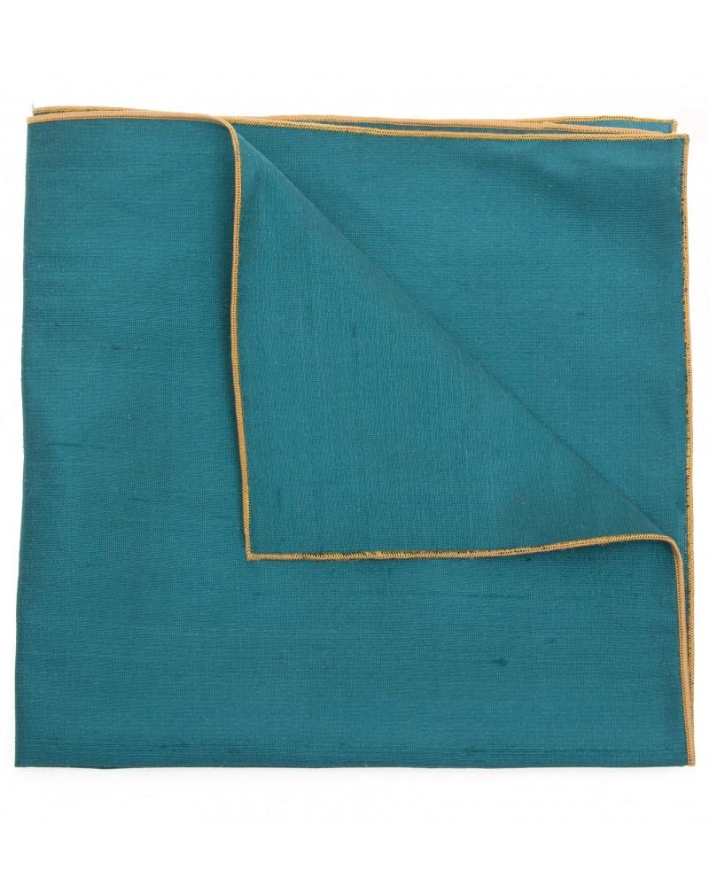 Pochette costume soie vert cobalt TOM CLIPPERTOWN®