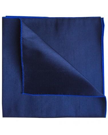 Carré-Pochette soie marine/bordure bleu-France